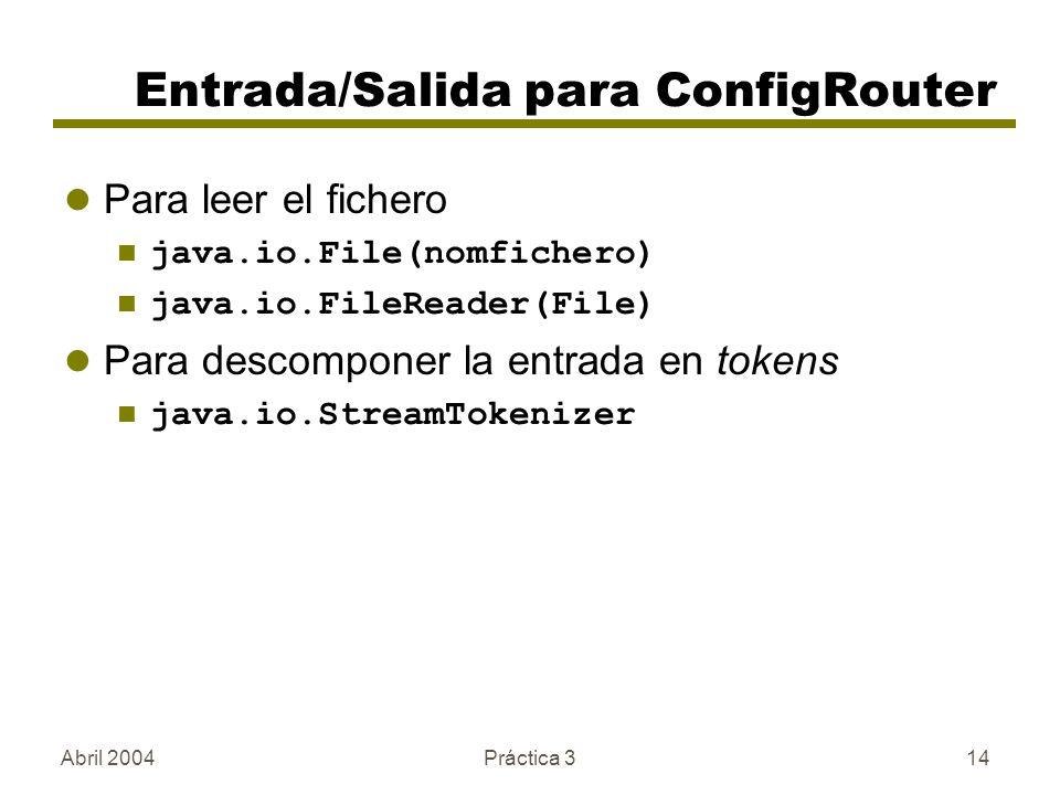 Abril 2004Práctica 314 Entrada/Salida para ConfigRouter Para leer el fichero java.io.File(nomfichero) java.io.FileReader(File) Para descomponer la entrada en tokens java.io.StreamTokenizer