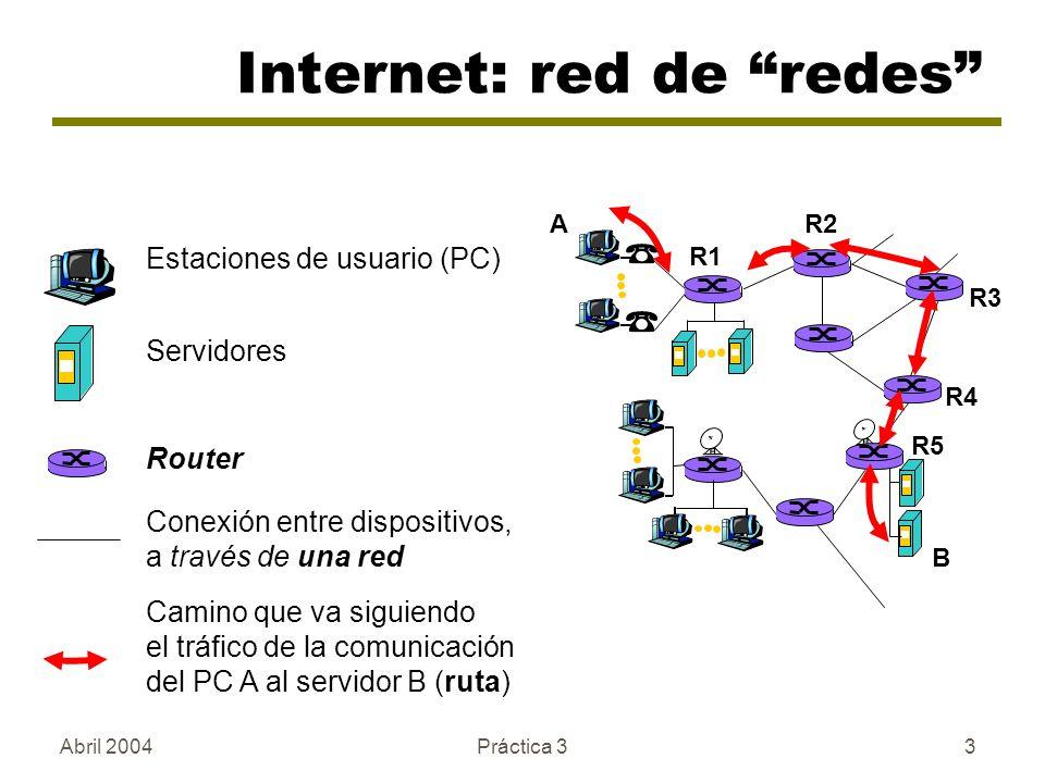 Abril 2004Práctica 33 Internet: red de redes Estaciones de usuario (PC) Servidores Router A B Camino que va siguiendo el tráfico de la comunicación del PC A al servidor B (ruta) Conexión entre dispositivos, a través de una red R1 R2 R3 R4 R5