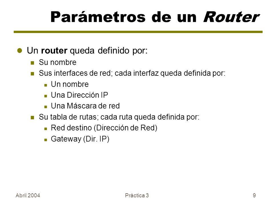 Abril 2004Práctica 39 Parámetros de un Router Un router queda definido por: Su nombre Sus interfaces de red; cada interfaz queda definida por: Un nombre Una Dirección IP Una Máscara de red Su tabla de rutas; cada ruta queda definida por: Red destino (Dirección de Red) Gateway (Dir.