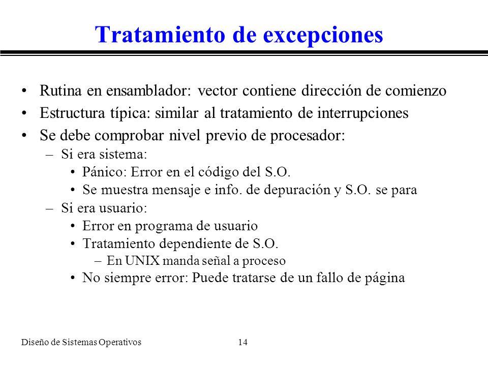 Diseño de Sistemas Operativos 14 Tratamiento de excepciones Rutina en ensamblador: vector contiene dirección de comienzo Estructura típica: similar al