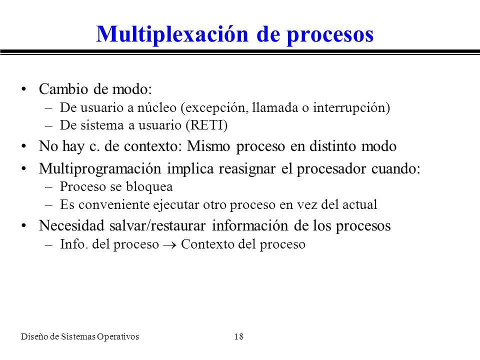 Diseño de Sistemas Operativos 18 Multiplexación de procesos Cambio de modo: –De usuario a núcleo (excepción, llamada o interrupción) –De sistema a usu
