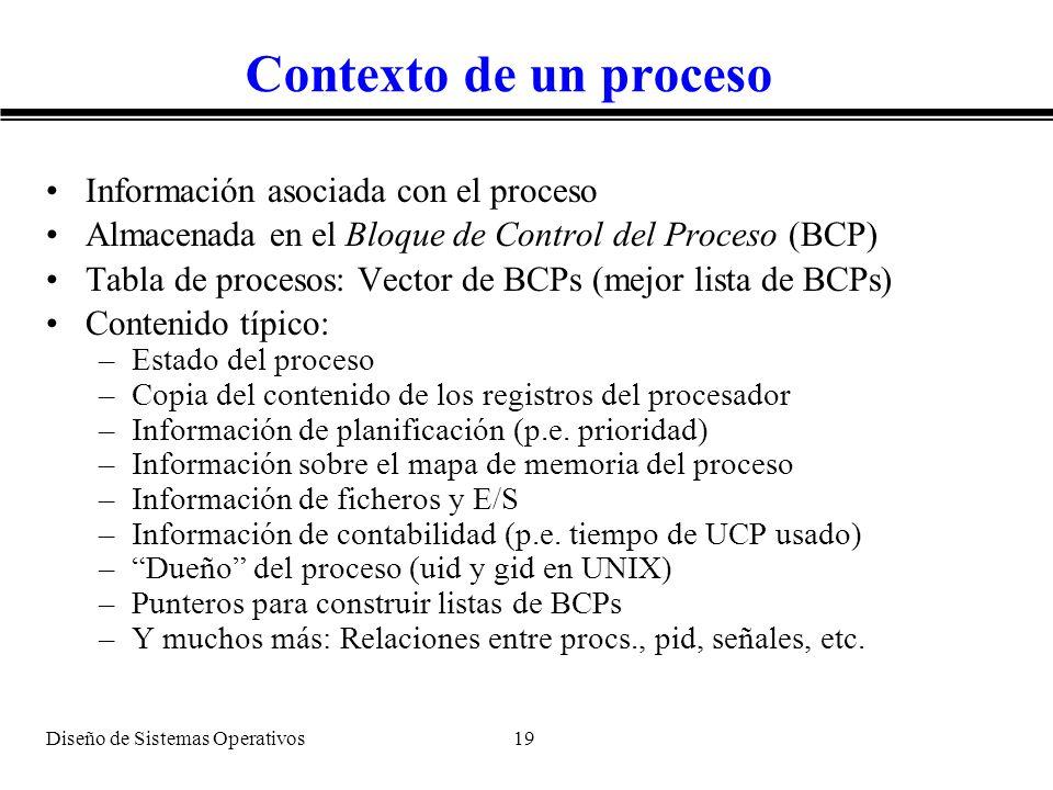 Diseño de Sistemas Operativos 19 Contexto de un proceso Información asociada con el proceso Almacenada en el Bloque de Control del Proceso (BCP) Tabla