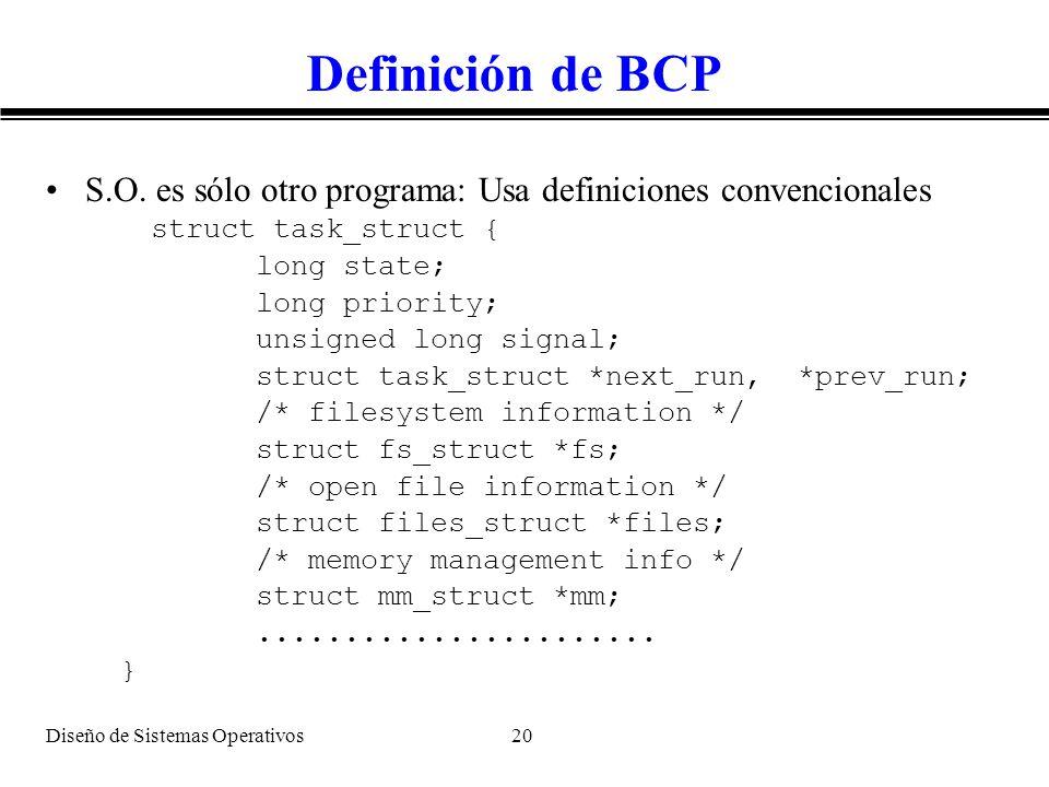 Diseño de Sistemas Operativos 20 Definición de BCP S.O. es sólo otro programa: Usa definiciones convencionales struct task_struct { long state; long p