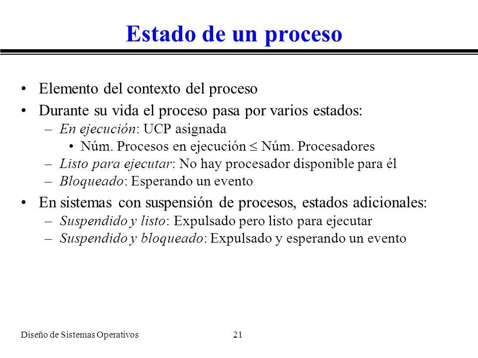 Diseño de Sistemas Operativos 21 Estado de un proceso Elemento del contexto del proceso Durante su vida el proceso pasa por varios estados: –En ejecuc