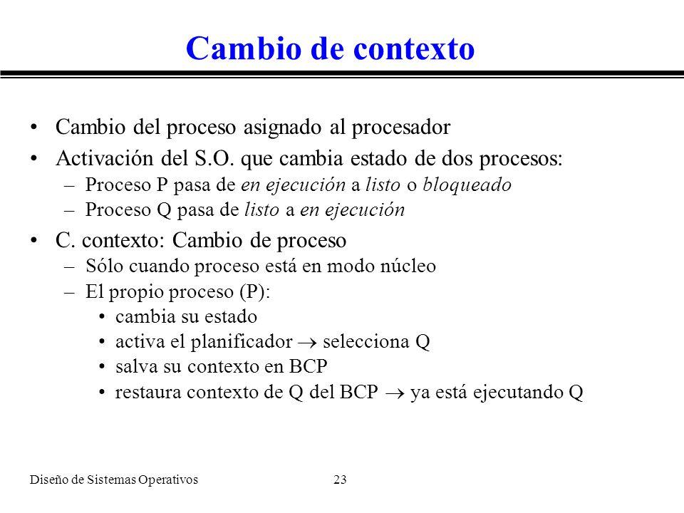 Diseño de Sistemas Operativos 23 Cambio de contexto Cambio del proceso asignado al procesador Activación del S.O. que cambia estado de dos procesos: –
