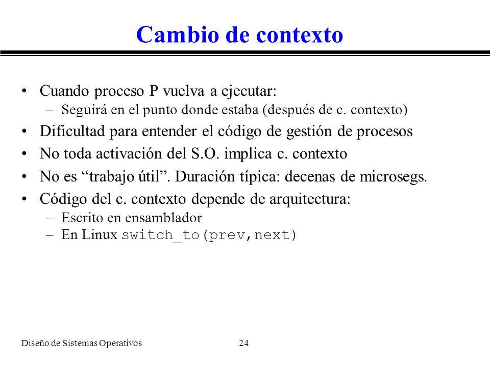 Diseño de Sistemas Operativos 24 Cambio de contexto Cuando proceso P vuelva a ejecutar: –Seguirá en el punto donde estaba (después de c. contexto) Dif