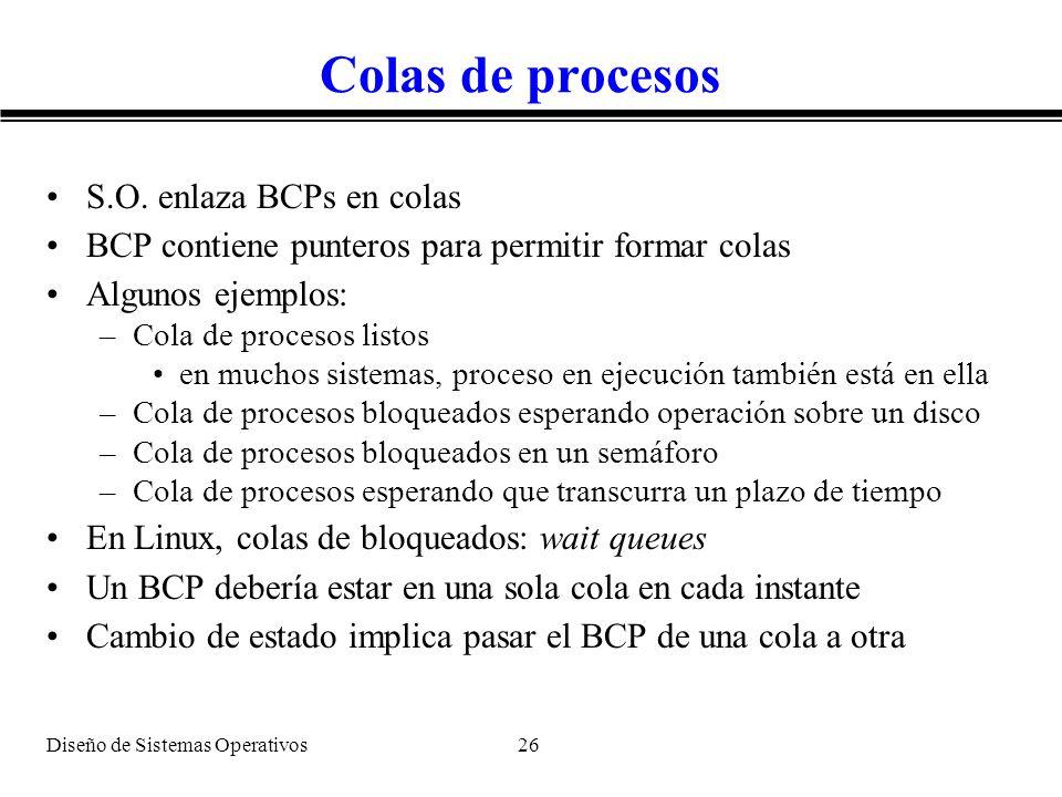 Diseño de Sistemas Operativos 26 Colas de procesos S.O. enlaza BCPs en colas BCP contiene punteros para permitir formar colas Algunos ejemplos: –Cola