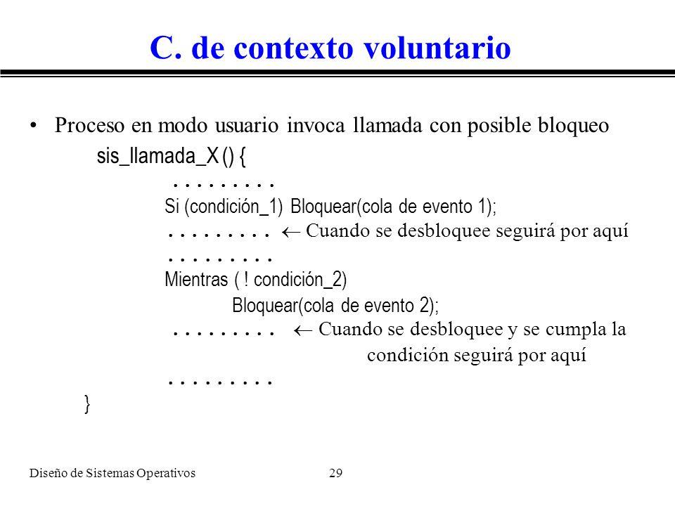 Diseño de Sistemas Operativos 29 C. de contexto voluntario Proceso en modo usuario invoca llamada con posible bloqueo sis_llamada_X () {......... Si (