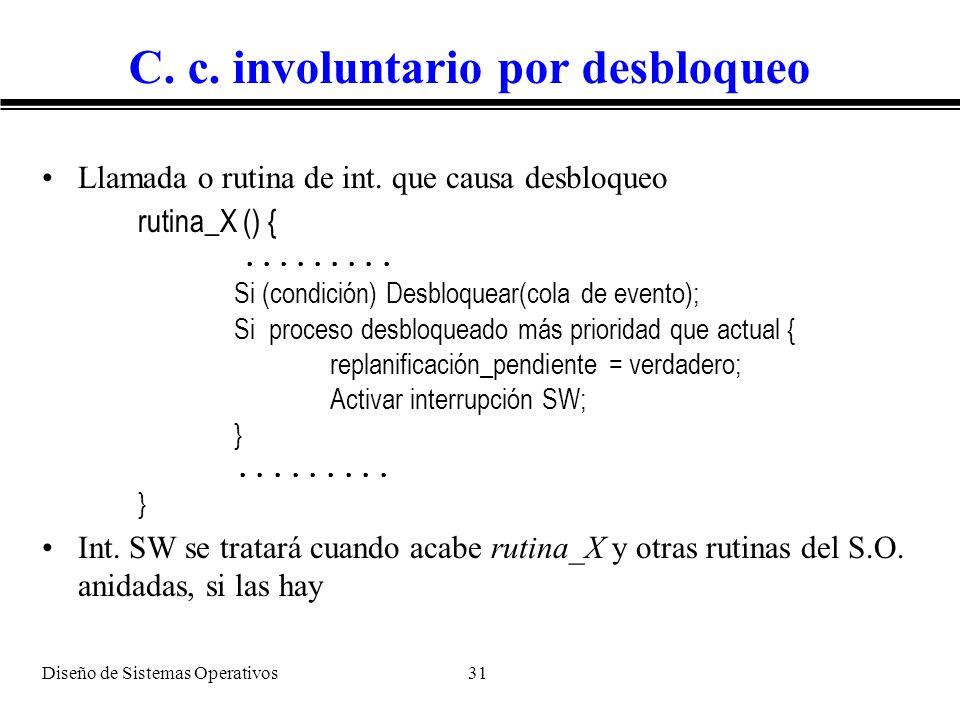 Diseño de Sistemas Operativos 31 C. c. involuntario por desbloqueo Llamada o rutina de int. que causa desbloqueo rutina_X () {......... Si (condición)