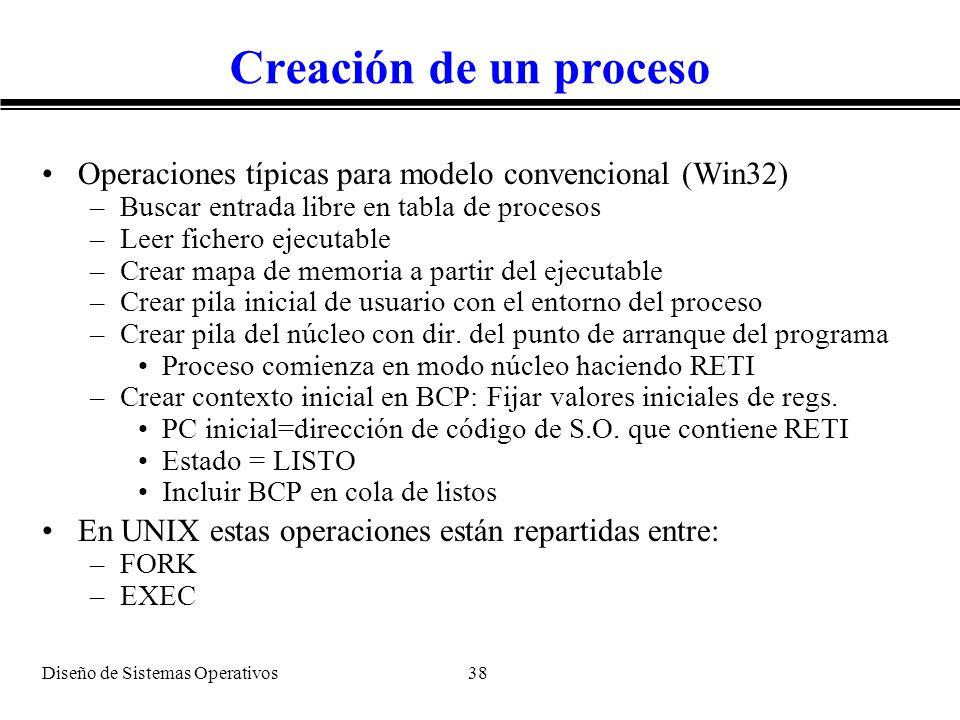 Diseño de Sistemas Operativos 38 Creación de un proceso Operaciones típicas para modelo convencional (Win32) –Buscar entrada libre en tabla de proceso