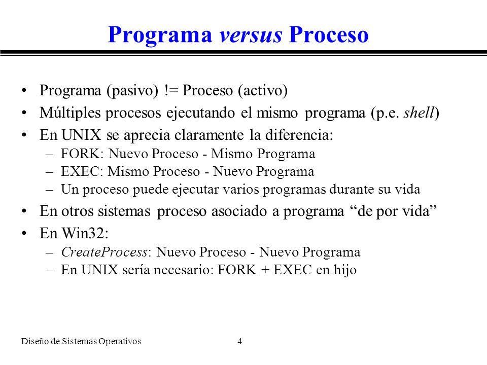 Diseño de Sistemas Operativos 4 Programa versus Proceso Programa (pasivo) != Proceso (activo) Múltiples procesos ejecutando el mismo programa (p.e. sh