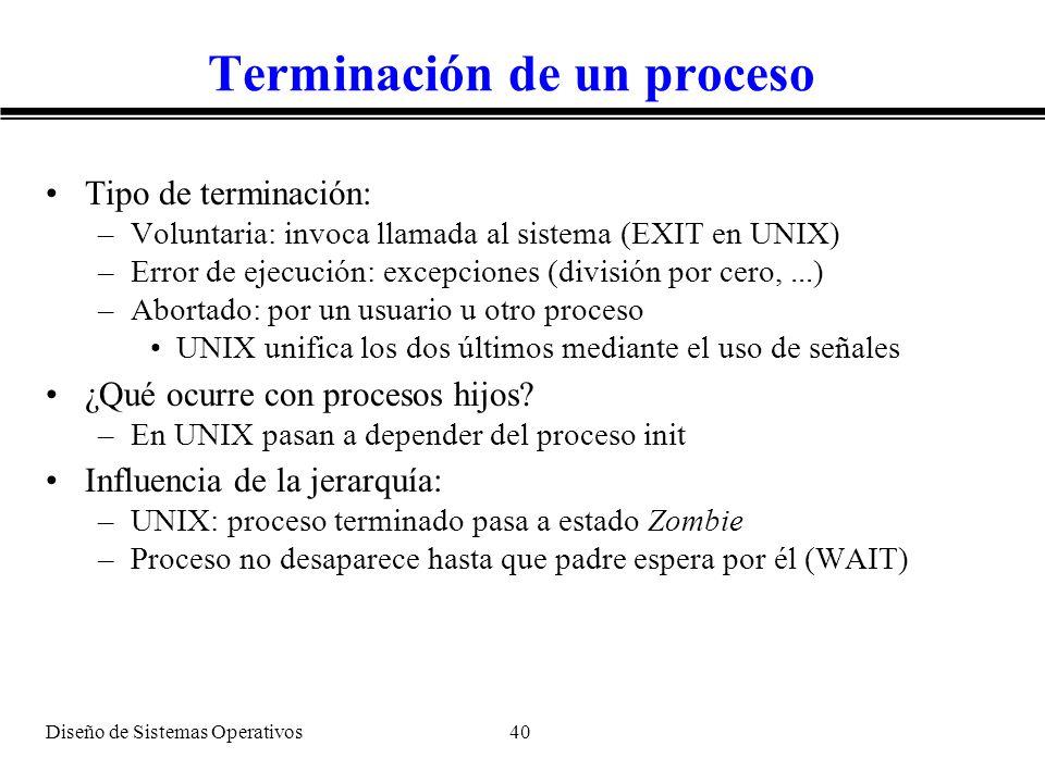 Diseño de Sistemas Operativos 40 Terminación de un proceso Tipo de terminación: –Voluntaria: invoca llamada al sistema (EXIT en UNIX) –Error de ejecuc