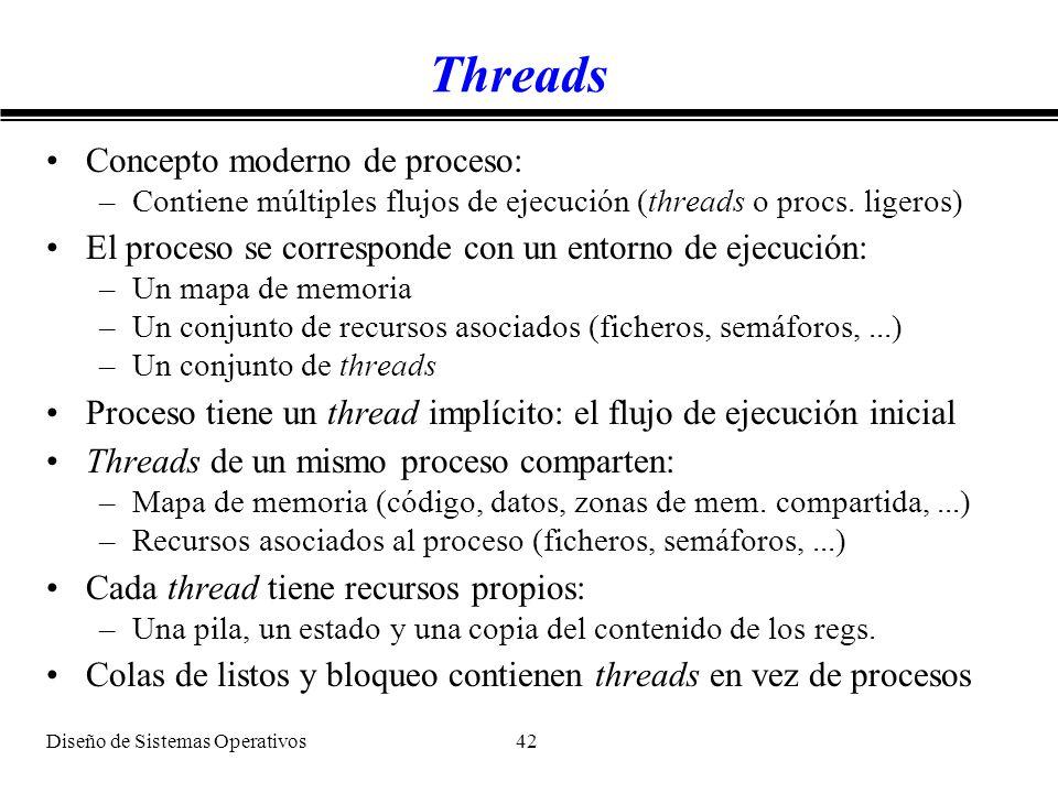 Diseño de Sistemas Operativos 42 Threads Concepto moderno de proceso: –Contiene múltiples flujos de ejecución (threads o procs. ligeros) El proceso se