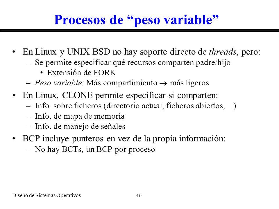 Diseño de Sistemas Operativos 46 Procesos de peso variable En Linux y UNIX BSD no hay soporte directo de threads, pero: –Se permite especificar qué re