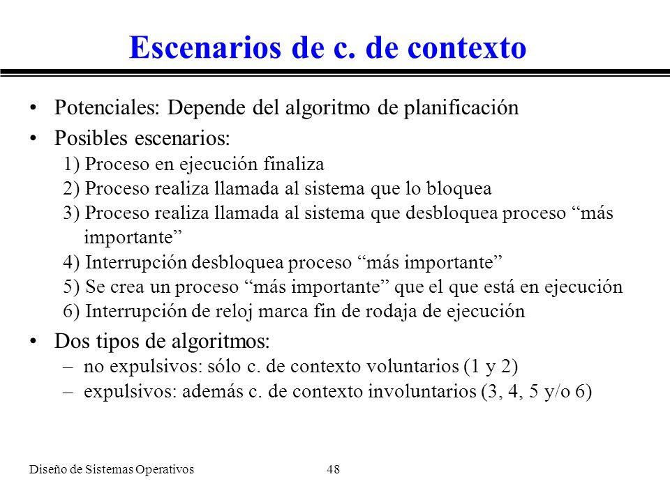 Diseño de Sistemas Operativos 48 Escenarios de c. de contexto Potenciales: Depende del algoritmo de planificación Posibles escenarios: 1) Proceso en e