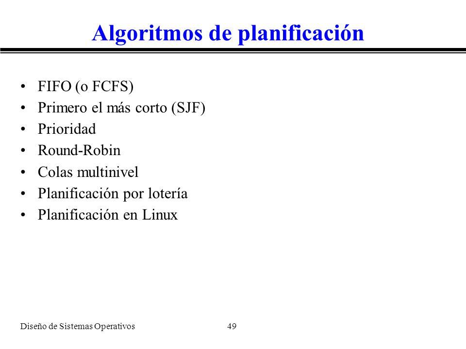 Diseño de Sistemas Operativos 49 Algoritmos de planificación FIFO (o FCFS) Primero el más corto (SJF) Prioridad Round-Robin Colas multinivel Planifica