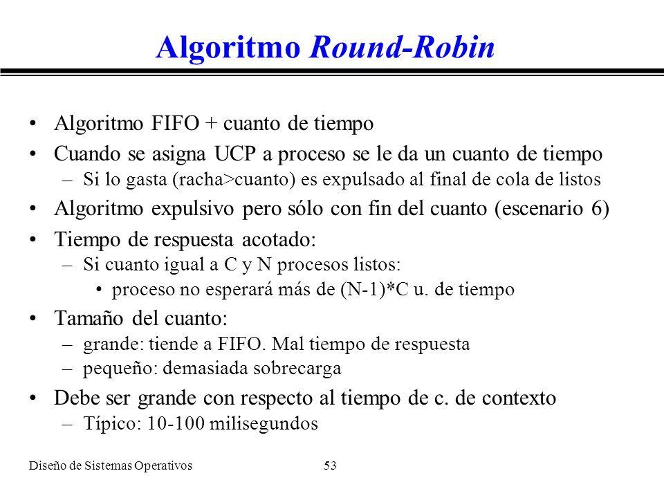 Diseño de Sistemas Operativos 53 Algoritmo Round-Robin Algoritmo FIFO + cuanto de tiempo Cuando se asigna UCP a proceso se le da un cuanto de tiempo –