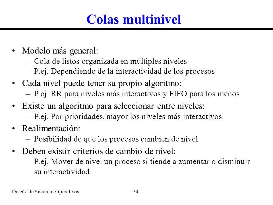 Diseño de Sistemas Operativos 54 Colas multinivel Modelo más general: –Cola de listos organizada en múltiples niveles –P.ej. Dependiendo de la interac