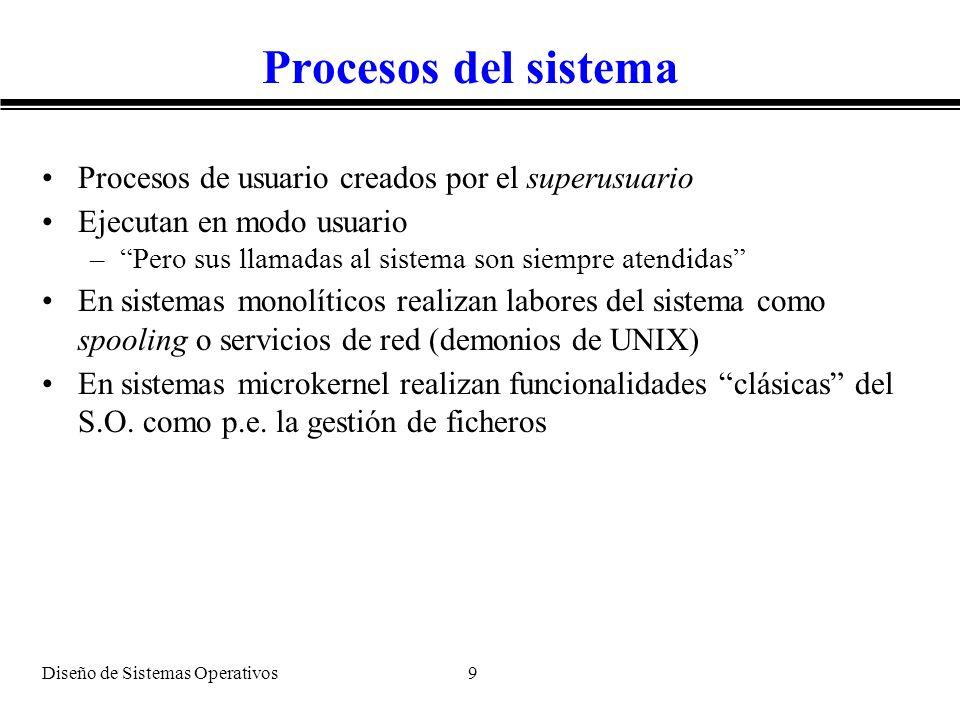 Diseño de Sistemas Operativos 9 Procesos del sistema Procesos de usuario creados por el superusuario Ejecutan en modo usuario –Pero sus llamadas al si