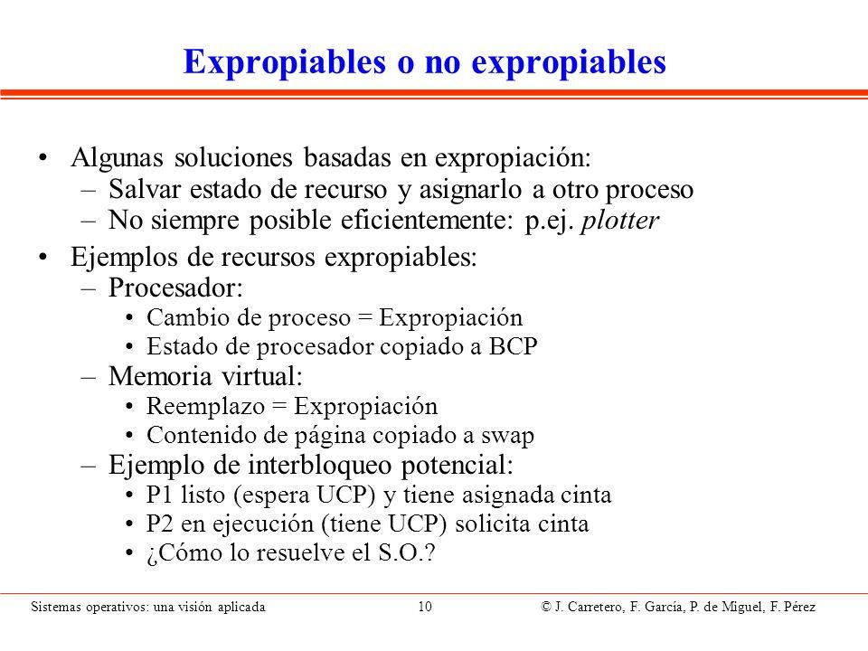 Sistemas operativos: una visión aplicada 10 © J. Carretero, F. García, P. de Miguel, F. Pérez Expropiables o no expropiables Algunas soluciones basada