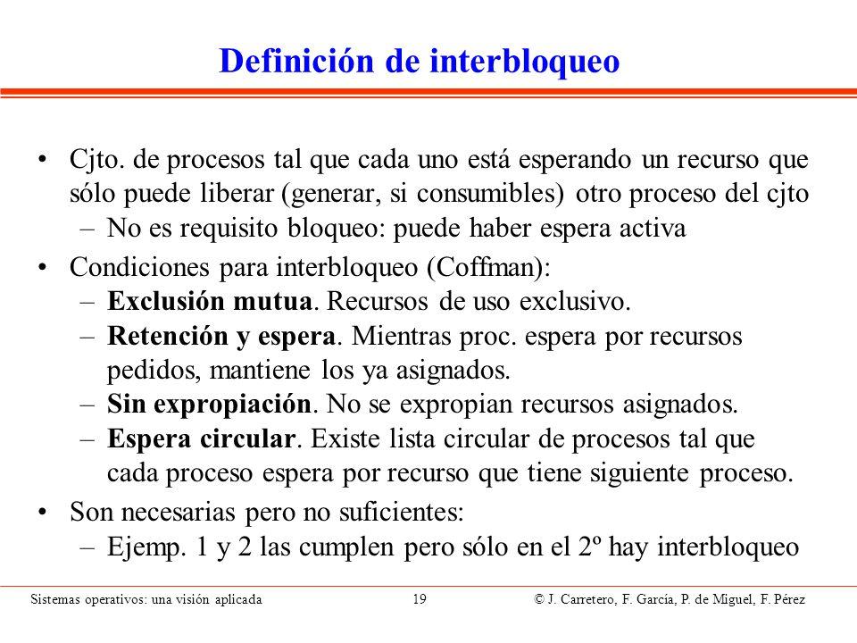 Sistemas operativos: una visión aplicada 19 © J. Carretero, F. García, P. de Miguel, F. Pérez Definición de interbloqueo Cjto. de procesos tal que cad