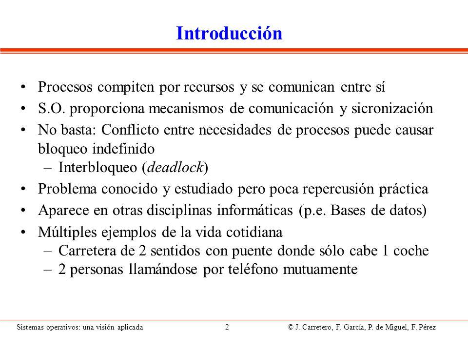 Sistemas operativos: una visión aplicada 2 © J. Carretero, F. García, P. de Miguel, F. Pérez Introducción Procesos compiten por recursos y se comunica