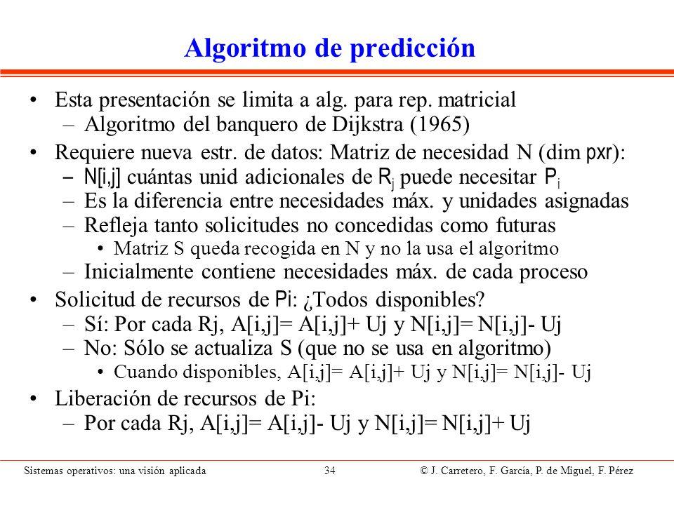 Sistemas operativos: una visión aplicada 34 © J. Carretero, F. García, P. de Miguel, F. Pérez Algoritmo de predicción Esta presentación se limita a al