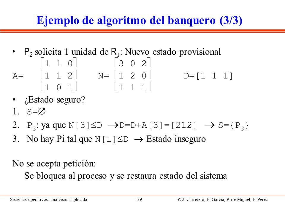 Sistemas operativos: una visión aplicada 39 © J. Carretero, F. García, P. de Miguel, F. Pérez Ejemplo de algoritmo del banquero (3/3) P 2 solicita 1 u