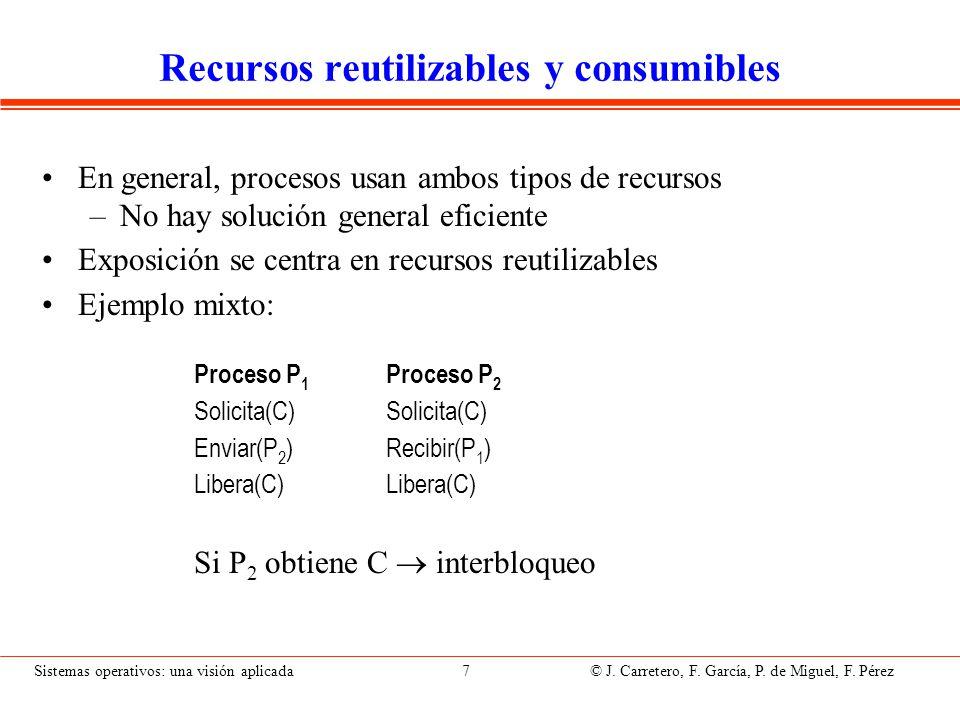 Sistemas operativos: una visión aplicada 7 © J. Carretero, F. García, P. de Miguel, F. Pérez Recursos reutilizables y consumibles En general, procesos