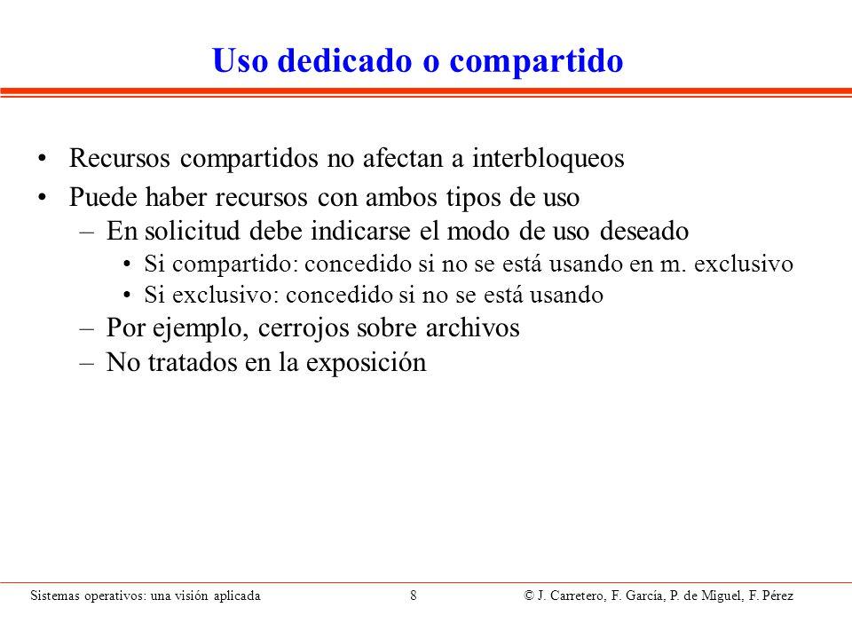 Sistemas operativos: una visión aplicada 8 © J. Carretero, F. García, P. de Miguel, F. Pérez Uso dedicado o compartido Recursos compartidos no afectan
