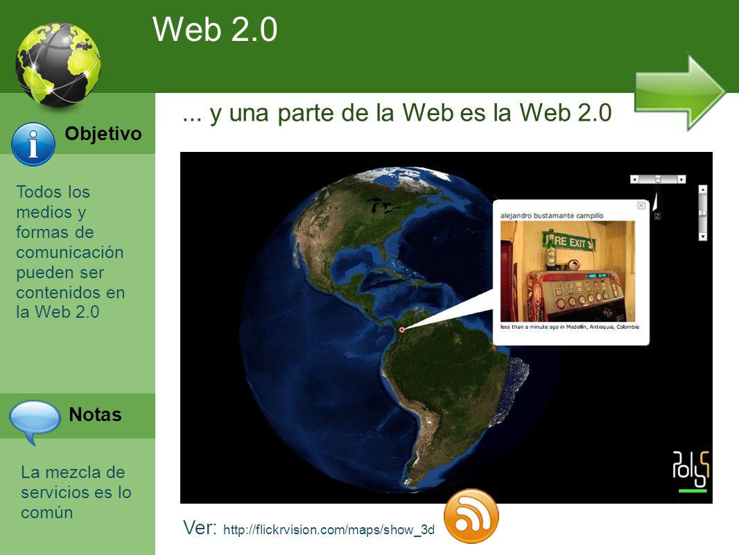 Programación Web en Servidor Curso INEM 2010 Todos los medios y formas de comunicación pueden ser contenidos en la Web 2.0 Ver: http://flickrvision.com/maps/show_3d...