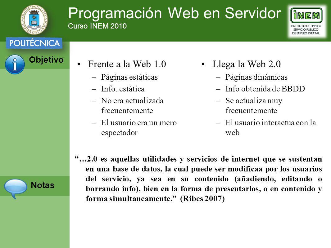 Programación Web en Servidor Curso INEM 2010 Objetivo Notas Llega la Web 2.0 –Páginas dinámicas –Info obtenida de BBDD –Se actualiza muy frecuentemente –El usuario interactua con la web Frente a la Web 1.0 –Páginas estáticas –Info.