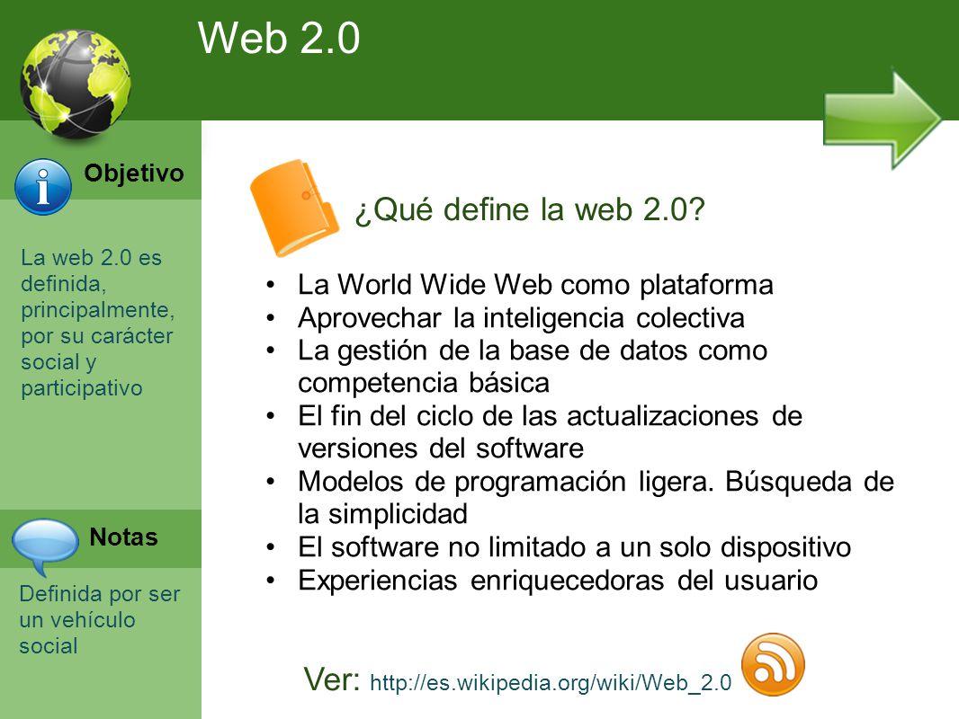 Programación Web en Servidor Curso INEM 2010 La web 2.0 es definida, principalmente, por su carácter social y participativo Definida por ser un vehículo social ¿Qué define la web 2.0.