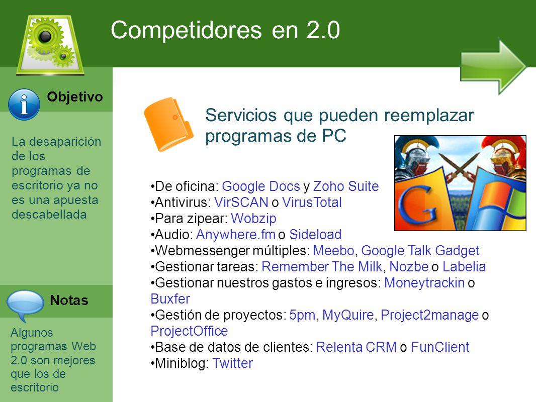 Programación Web en Servidor Curso INEM 2010 La desaparición de los programas de escritorio ya no es una apuesta descabellada Algunos programas Web 2.