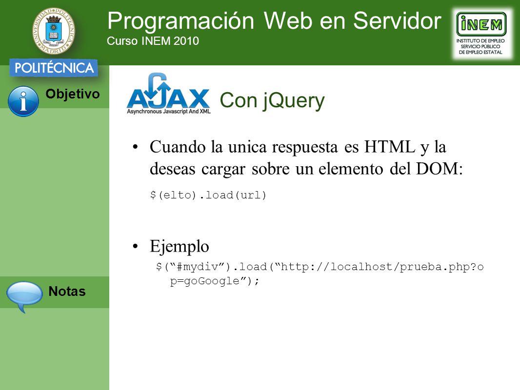 Programación Web en Servidor Curso INEM 2010 Objetivo Notas Cuando la unica respuesta es HTML y la deseas cargar sobre un elemento del DOM: $(elto).load(url) Ejemplo $(#mydiv).load(http://localhost/prueba.php?o p=goGoogle); Con jQuery