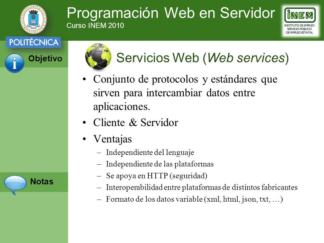 Programación Web en Servidor Curso INEM 2010 Objetivo Notas Conjunto de protocolos y estándares que sirven para intercambiar datos entre aplicaciones.