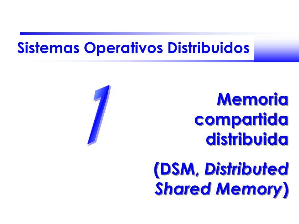 Sistemas Operativos Distribuidos Memoria compartida distribuida (DSM, Distributed Shared Memory ) Memoria compartida distribuida (DSM, Distributed Sha