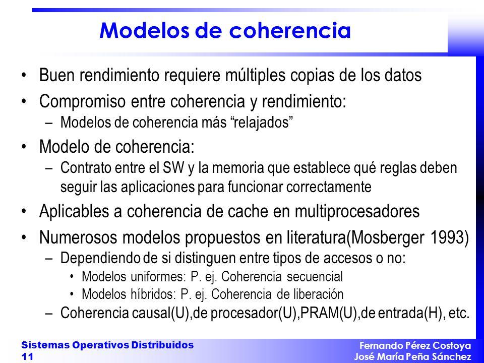 Fernando Pérez Costoya José María Peña Sánchez Sistemas Operativos Distribuidos 11 Modelos de coherencia Buen rendimiento requiere múltiples copias de