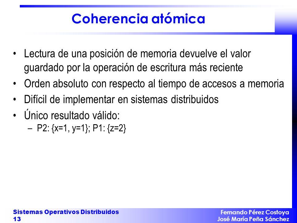 Fernando Pérez Costoya José María Peña Sánchez Sistemas Operativos Distribuidos 13 Coherencia atómica Lectura de una posición de memoria devuelve el v