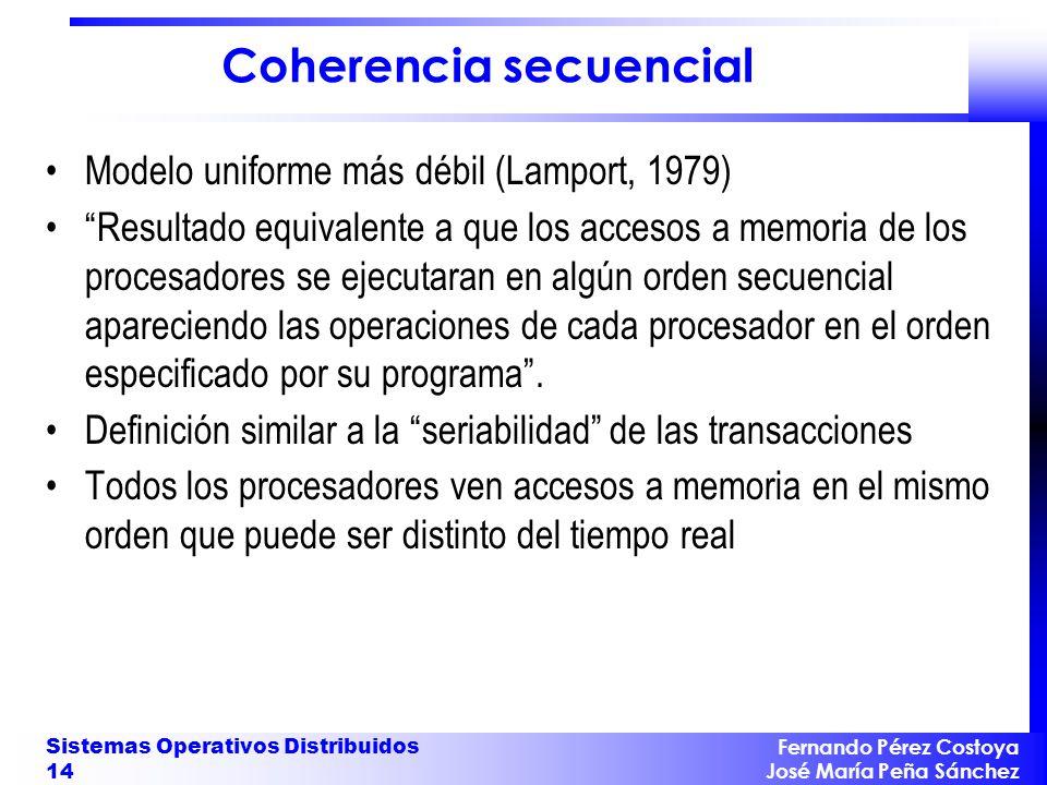 Fernando Pérez Costoya José María Peña Sánchez Sistemas Operativos Distribuidos 14 Coherencia secuencial Modelo uniforme más débil (Lamport, 1979) Res