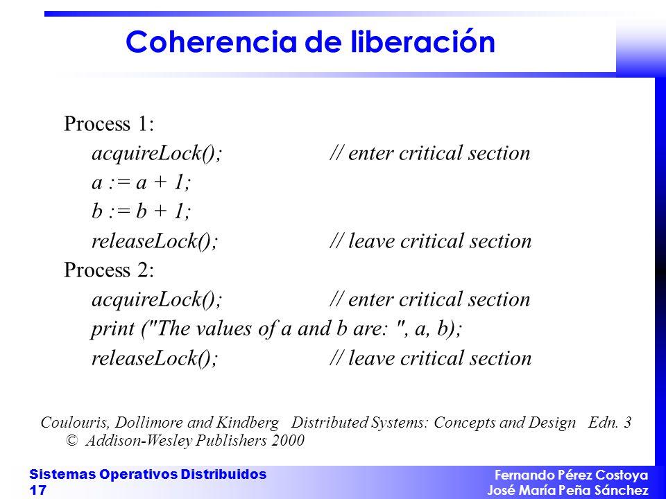 Fernando Pérez Costoya José María Peña Sánchez Sistemas Operativos Distribuidos 17 Coherencia de liberación Process 1: acquireLock();// enter critical