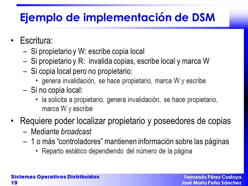 Fernando Pérez Costoya José María Peña Sánchez Sistemas Operativos Distribuidos 19 Ejemplo de implementación de DSM Escritura: –Si propietario y W: es