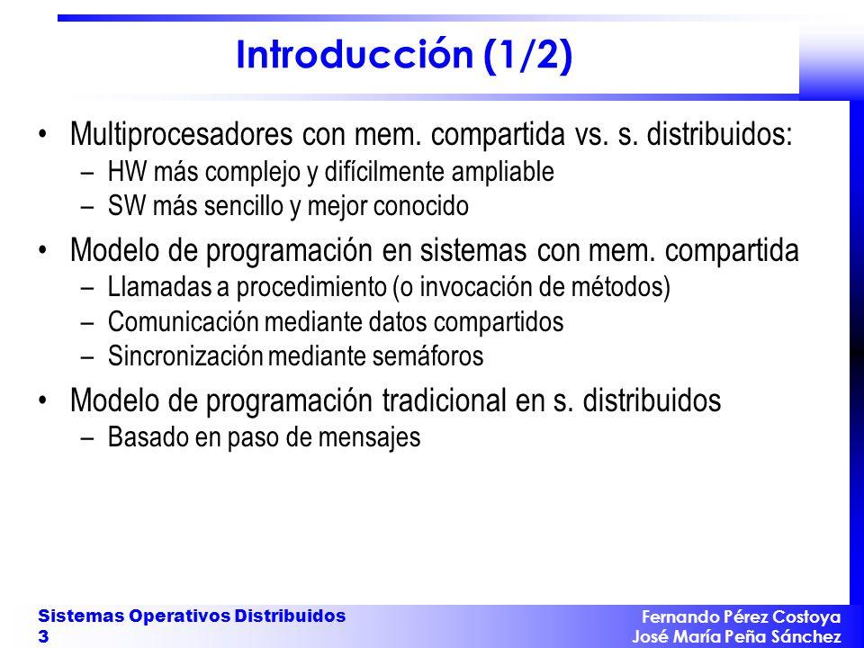 Fernando Pérez Costoya José María Peña Sánchez Sistemas Operativos Distribuidos 3 Introducción (1/2) Multiprocesadores con mem. compartida vs. s. dist