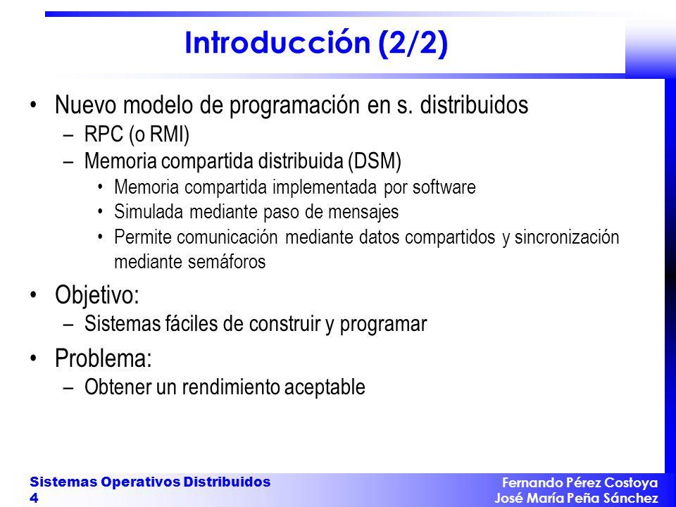 Fernando Pérez Costoya José María Peña Sánchez Sistemas Operativos Distribuidos 4 Introducción (2/2) Nuevo modelo de programación en s. distribuidos –