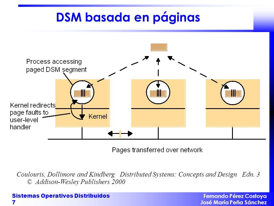Fernando Pérez Costoya José María Peña Sánchez Sistemas Operativos Distribuidos 7 DSM basada en páginas Coulouris, Dollimore and Kindberg Distributed