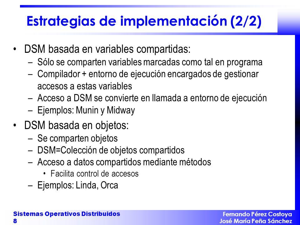Fernando Pérez Costoya José María Peña Sánchez Sistemas Operativos Distribuidos 8 Estrategias de implementación (2/2) DSM basada en variables comparti