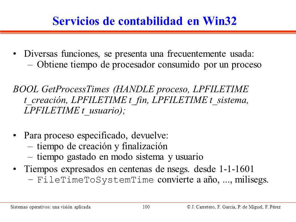Sistemas operativos: una visión aplicada 100 © J. Carretero, F. García, P. de Miguel, F. Pérez Servicios de contabilidad en Win32 Diversas funciones,