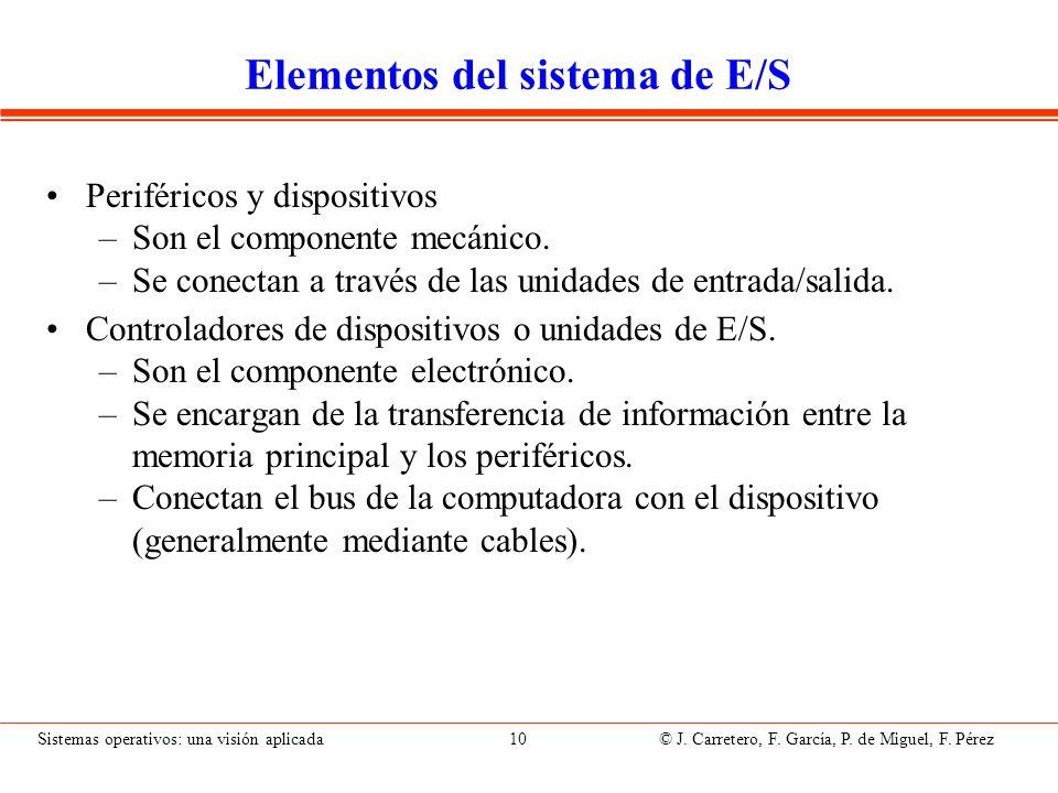 Sistemas operativos: una visión aplicada 10 © J. Carretero, F. García, P. de Miguel, F. Pérez Elementos del sistema de E/S Periféricos y dispositivos