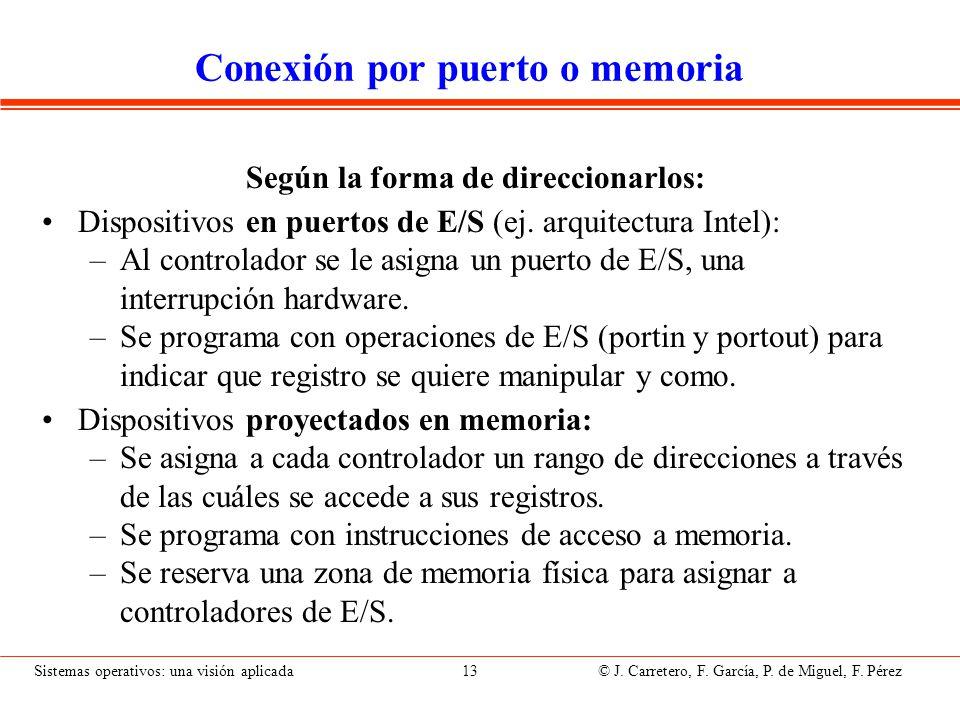 Sistemas operativos: una visión aplicada 13 © J. Carretero, F. García, P. de Miguel, F. Pérez Conexión por puerto o memoria Según la forma de direccio