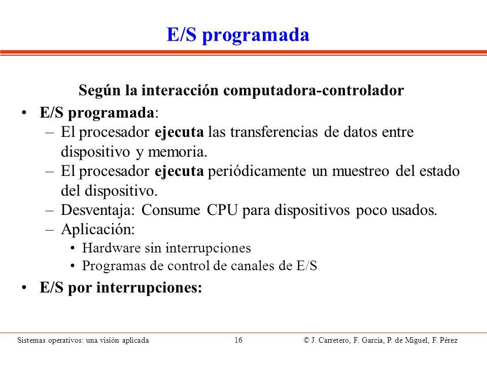 Sistemas operativos: una visión aplicada 16 © J. Carretero, F. García, P. de Miguel, F. Pérez E/S programada Según la interacción computadora-controla
